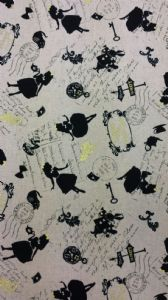 ALICE IN WONDERLAND - WHITE RABBIT MAD HATTER - Grey Fabric 80% Cotton 20% Linen - Price Per Metre